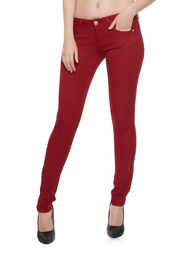 VIP Push Up Skinny Jeans,BURGUNDY,large