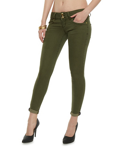 VIP Push Up Skinny Jeans with Three Buttons,OLIVE,large