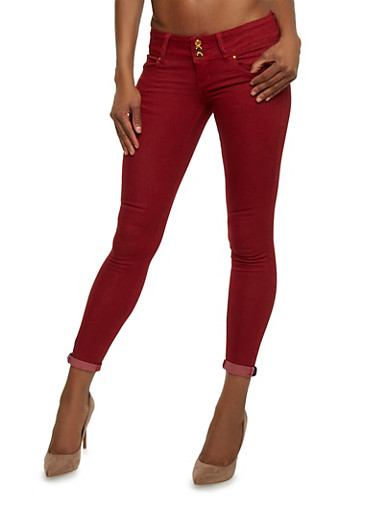 VIP High Waisted Skinny Jeans with Push Up Darting,BURGUNDY,large