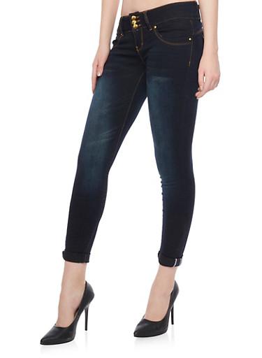 VIP 3 Button Mid Rise Jeans,BLACK,large
