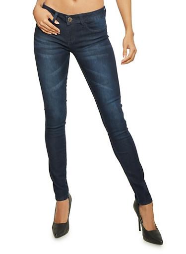 Faded Skinny Jeans,DARK WASH,large