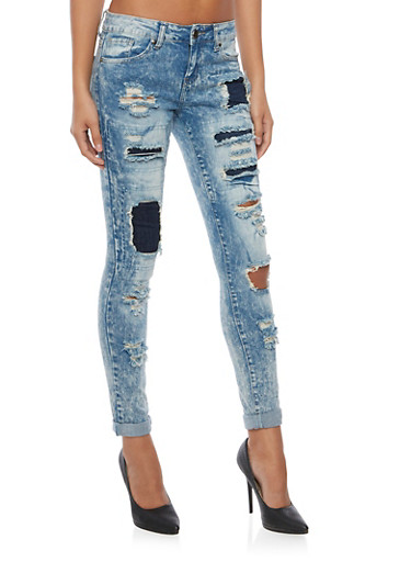 Acid Wash Jeans with Patching and Repair,LIGHT WASH,large