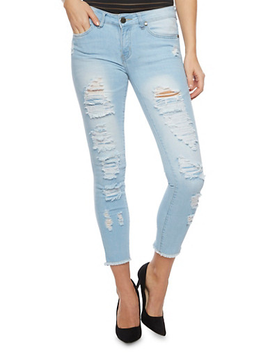 VIP Jeans with Distressing Throughout,LIGHT WASH,large