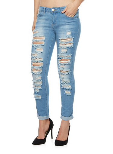 VIP Jeans with Distressing Throughout,MEDIUM WASH,large