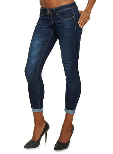 Cropped Skinny Jeans,DARK WASH,large