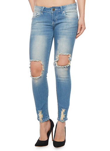 VIP Ripped Knee Skinny Jeans,MEDIUM WASH,large