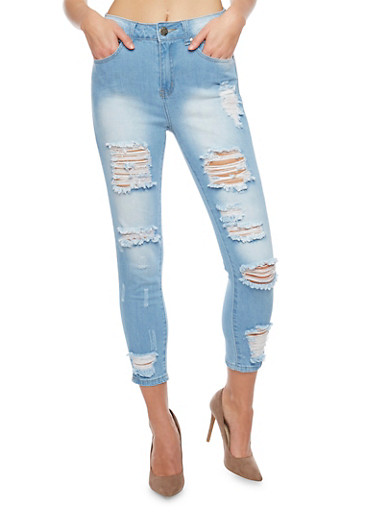 VIP Destroyed High Waisted Cropped Skinny Jeans,LIGHT WASH,large