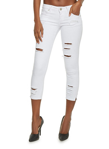 VIP Cropped Ripped Skinny Jeans,WHITE,large