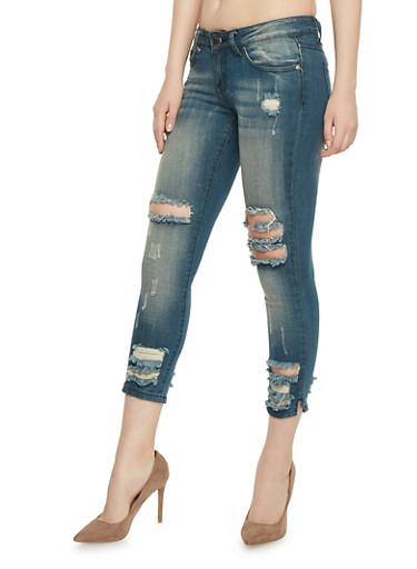 VIP Frayed Cropped Skinny Jeans,DARK WASH,large