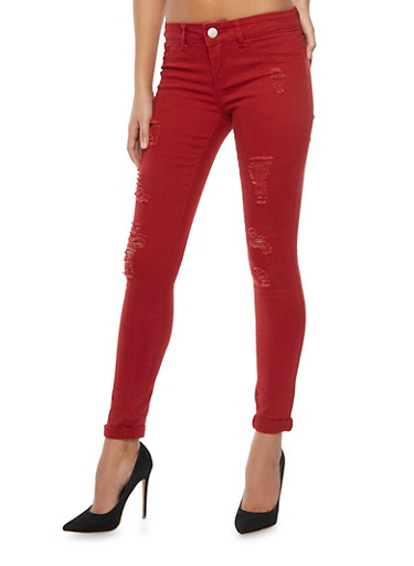 Dyed Skinny Jeans with Distressing,BURGUNDY,large