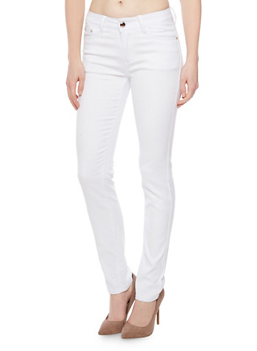 Dyed Skinny Jeans,WHITE,large