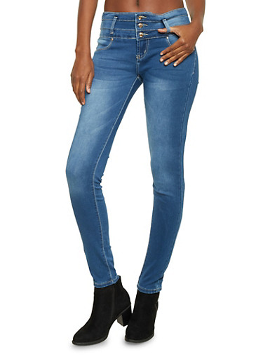 High Waisted Jeans with Tiered Waist Paneling,MEDIUM WASH,large