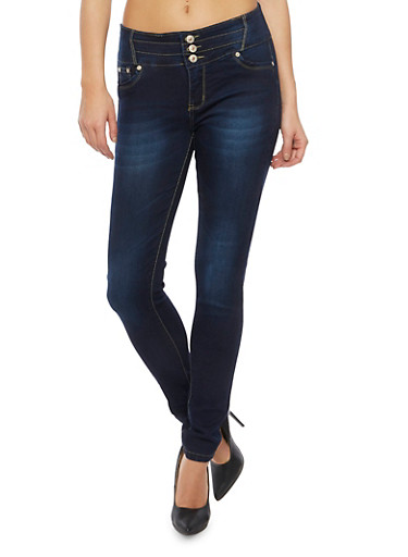 Faded High Waisted Push Up Skinny Jeans,DARK WASH,large