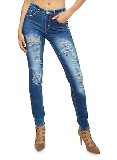 Classic Ripped Skinny Jeans,MEDIUM WASH,large