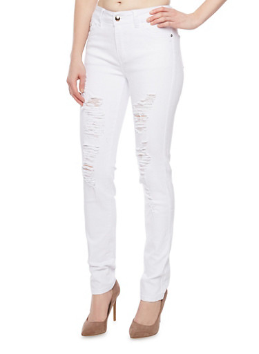Ripped High Waisted Skinny Jeans with Five Pockets,WHITE,large