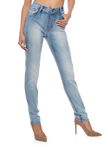 Light Wash High Waisted Skinny Jeans,LIGHT WASH,large