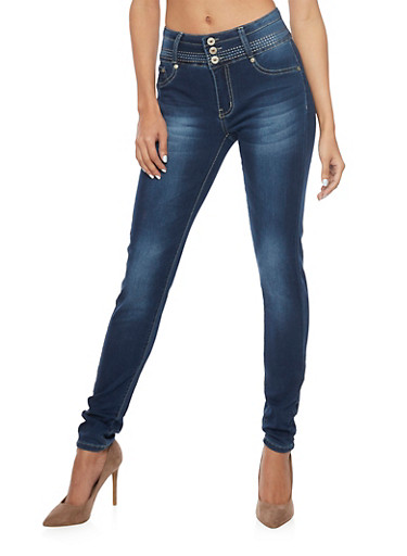 High Waisted Push Up Skinny Jeans with Stitched Accents,MEDIUM WASH,large