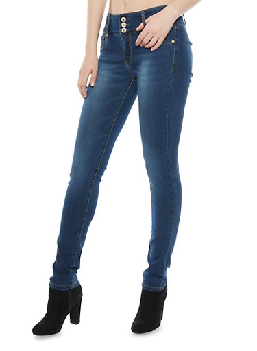 Stretch Skinny Jeans with High Waist,MEDIUM WASH,large