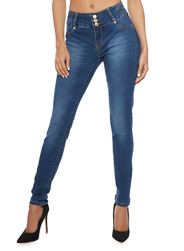 Push Up Skinny Jeans with High Waist and Back Stitching Detail,MEDIUM WASH,large