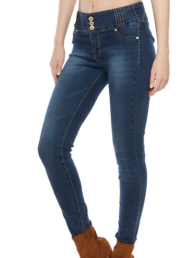 High Waisted Skinny Jeans with Push Up Seams,MEDIUM WASH,large
