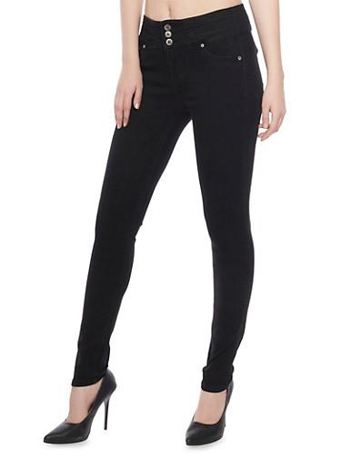 Black High Waisted Push Up Skinny Jeans,BLACK,large