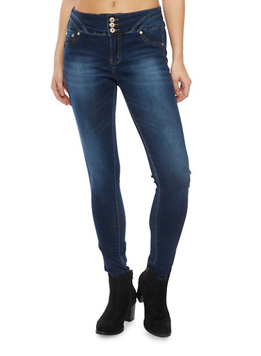 Skinny Jeans with High Waist and Stitching Detail,DARK WASH,large