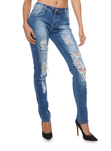Ripped Faded Skinny Jeans,MEDIUM WASH,large