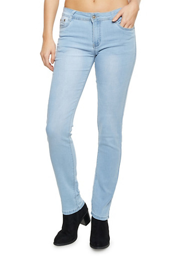 Five Pocket Skinny Jeans,LIGHT WASH,large