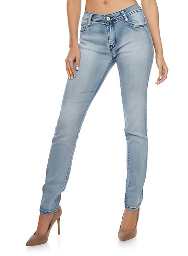 Skinny Jeans in Bleached Wash,LIGHT WASH,large