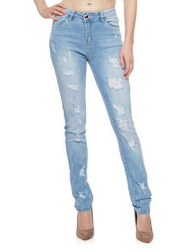 Distressed Skinny Jeans,LIGHT WASH,large