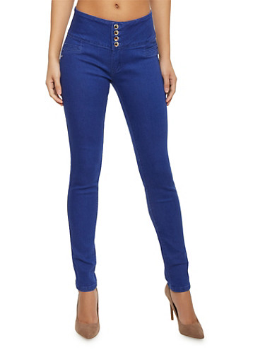 4 Button Skinny Jeans with Caged Back Detail,BLUE,large