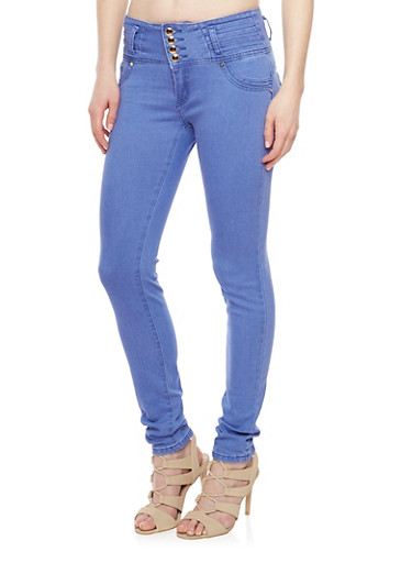 4 Button Skinny Jeans with Tiered Waist Detail,BLUE,large