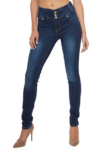 Three Button Skinny Jeans with Accent Paneling and Darting,DARK WASH,large