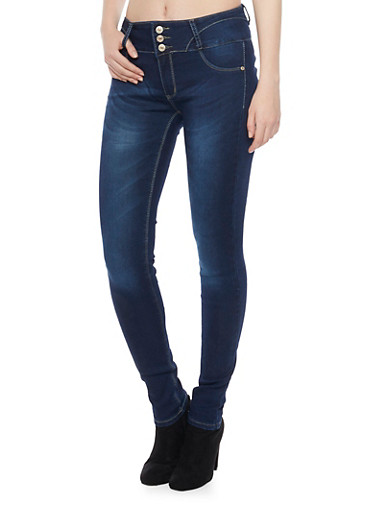High Waisted Push Up Skinny Jeans with Contrast Stitching,BLUE,large