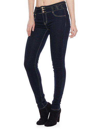 Three Button Jeggings with Stitched Panel Waist,DARK WASH,large
