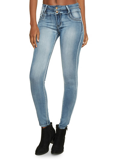 Faded Skinny Jeans with Two Buttons,MEDIUM WASH,large