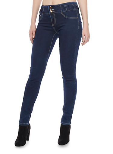 Skinny Stretch Jeans with 3 Button Waist,DARK WASH,large