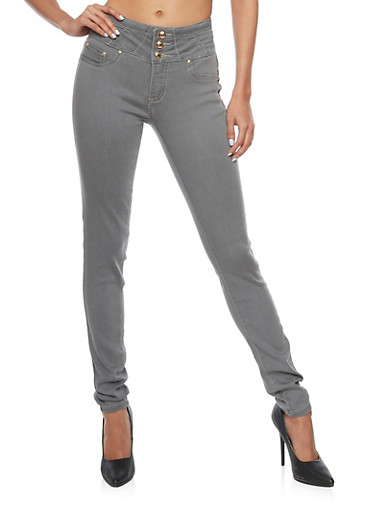 Grey High Waisted Skinny Jeans with Push Up Back Darting,GREY,large