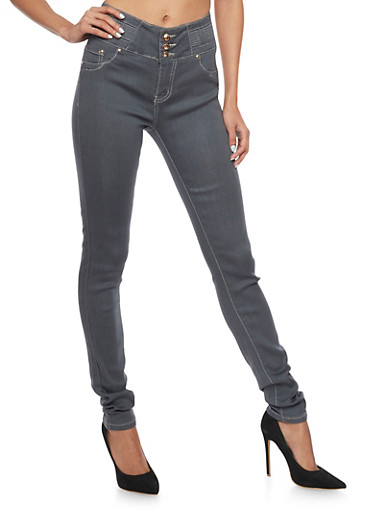 Grey High Waisted Skinny Jeans with Decorative Stitching,GREY,large