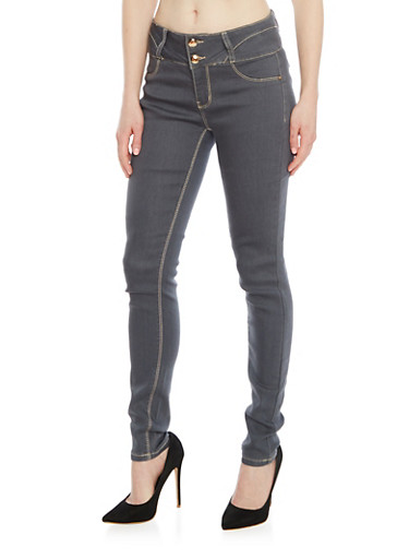Two Button Denim Skinny Jeans with Contrast Stitching,GREY,large