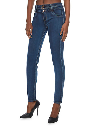 Push Up Skinny Jeans with 3 Button High Waist,MEDIUM WASH,large