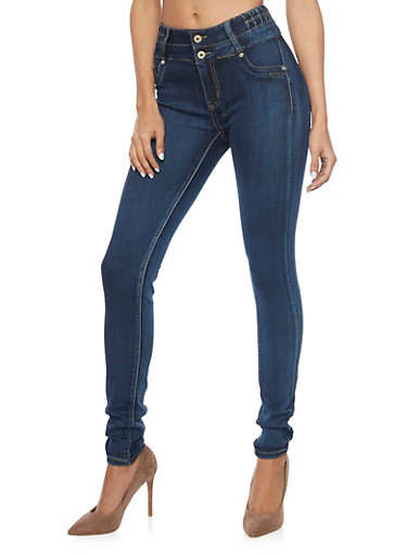 High Waisted Skinny Jeans with Back Darting,MEDIUM WASH,large
