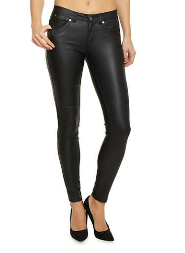 Skinny Pants in Faux Leather,BLACK,large
