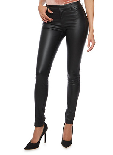 Coated Skinny Pants,BLACK,large