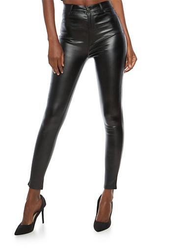 High Waisted Coated Skinny Pants,BLACK,large