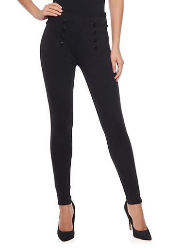Eight Button Pleated Sailor Pants,BLACK,large