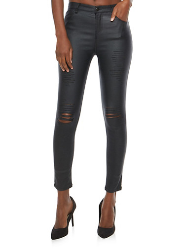 Ripped Coated Skinny Jeans,BLACK,large