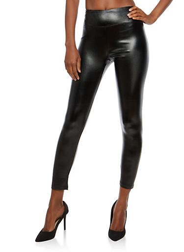 Glitter Faux Leather Leggings,BLACK,large