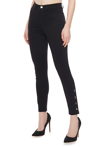 Ponte Skinny Leg Jeggings with Button Detail,BLACK,large