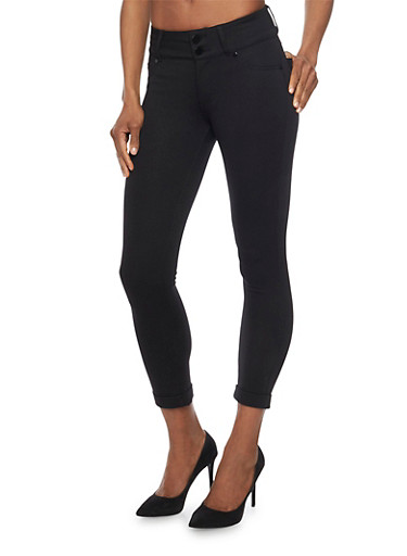 Shinestar Cuff Leg Jeggings,BLACK,large